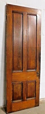 Antique 1800's Wooden DOOR Four Raised Panel VICTORIAN Style Butternut ORNATE