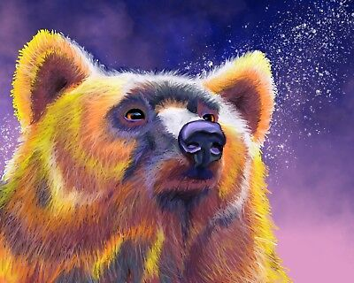 GRIZZLY BEAR at Night Art PRINT of Original Digital Oil Painting Artwork by VERN