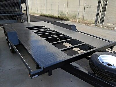 14x6'6 TANDEM AXLE LIGHT WEIGHT OPEN FLOOR CAR CARRIER TRAILER +NEW WHEELS+SPARE