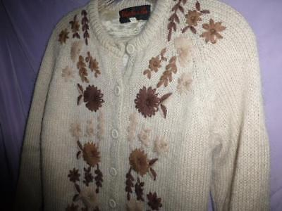 Vtg Charles & co Embroidered wool mohair 50s 60s sweater Cardigan rockabilly 34