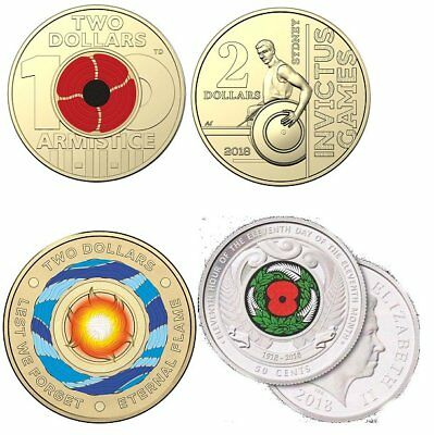 4 NEW $2 coins - 2018 red poppy - Invictus Games - Eternal Flame - NZ 50c  Poppy