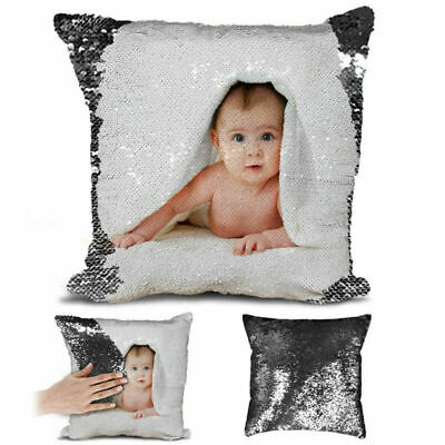 Text Sequin Pillow Cushion Cover Personalised Photo Your Name Magic Reveal Gifts