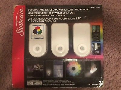 Sunbeam Color Changing Led Power Failure Night Light With Led Flashlight 3 Pac 22 99 Picclick