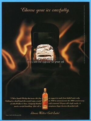 1997 Johnnie Walker Gold Label Scotch Whisky Choose Your Ice Carefully Print Ad
