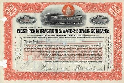 """""""rare"""" - West Penn Traction & Water Power Company - Stock Certificate - 1912"""