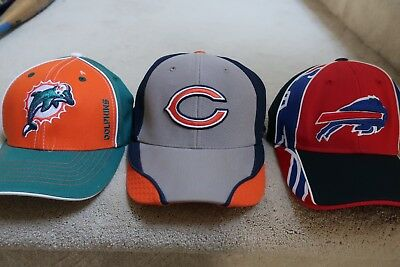 Lot of 3 Used Youth NFL Hats Dolphins Bills Bears