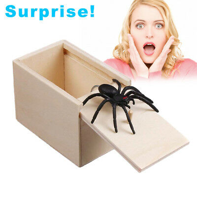 Funny Scare Box Spider Hidden in Case Prank Wood Scare Box Joke Trick Toy