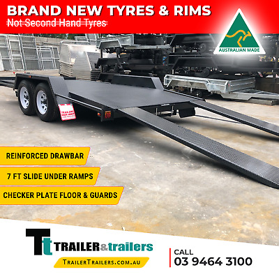 14x6'6 TANDEM AXLE SEMI FLAT BEAVER TAIL CAR CARRIER TRAILER -NEW WHEELS + TYRES