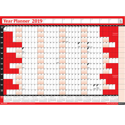 2019 Wall Planner Calendar Year Yearly Chart LAMINATED with Pen / Stickers RED