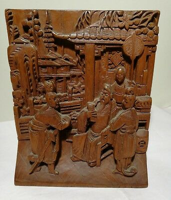 Antique Hand Carved Wooden sculpture+scene Panel L19cm X W16cm