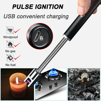 1x Flameless Windproof USB Electric Lighter 360° Rotation Portable Kitchen Tool