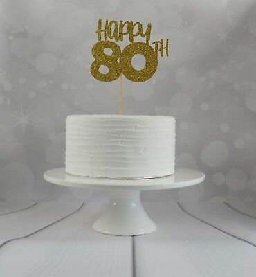 80th Birthday Cake Topper Party Decorations Glitter Card