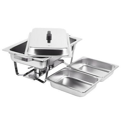 2 X 4.5L Stainless Steel Chafing Dish Buffet Stoves Caterers Food Warmer Tray AU