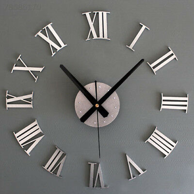 3BA3 Metal Wall Clock with Fashion Design Number Clock 3D Silver Home Wall DIY