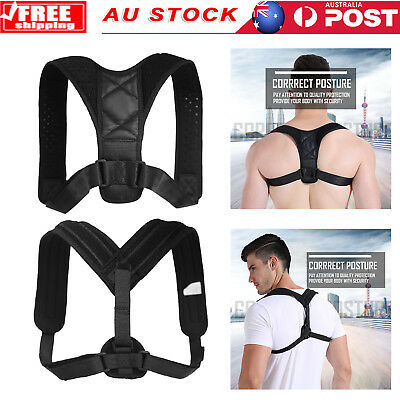 AU Men Women Adjustable Posture Corrector Back Shoulder Support Brace Strap Belt
