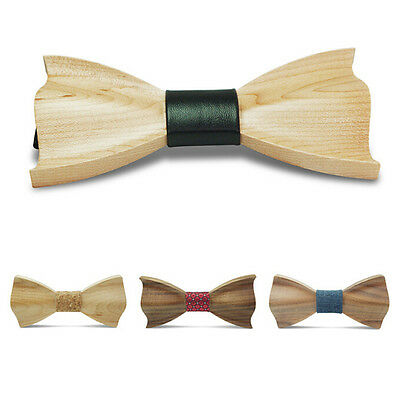 3D Handmade Wooden Bow Tie Novelty Men's Gifts Wedding Wood Tuxed bowtie Necktie