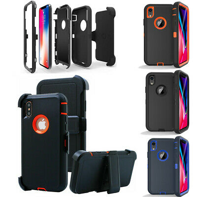For iPhone XR X/ XS Max Armor Hybrid Case Cover Belt Clip Fits Otterbox Defender