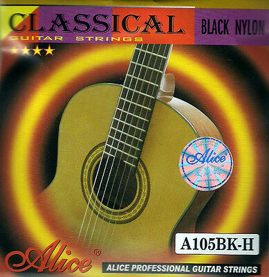 10 x 1 E 1st string (10 strings) - Black Classical Nylon Guitar Strings .0285""