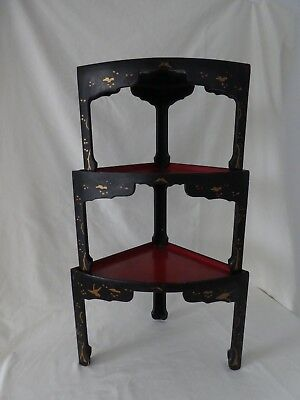 Antique Japanese Lacquered Paper Mache Nesting Tables Display Stands