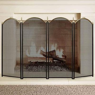 Large Gold Fireplace Screen 4 Panel  Wrought Iron Metal Fire Place