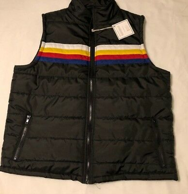 Mens L Striped Vest Black Puffer Quilted Retro Vintage Inspired Red Blue Yellow