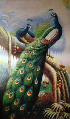 LMOP703 a pair charm peacocks bird on tree hand paint art oil painting canvas