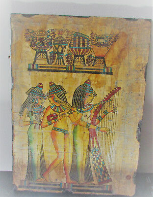 Very Rare Ancient Egyptian Glazed Wooden Panel With Painted Scene
