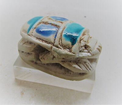 Beautiful Ancient Egyptian Sandstone Scarab With Heiroglyphics Museum Quality