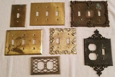 7 Vintage Light Switch Plate Outlet Covers Ornate & Misc Brass & Metal