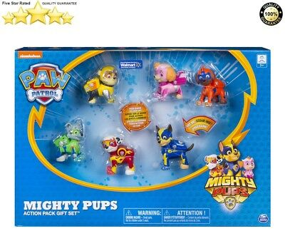 Nickelodeon Paw Patrol Mighty Pups 6 Action Pups Light Up Gift Set