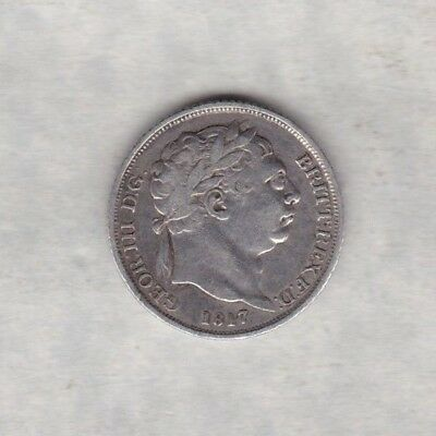 1817 George Iii Sixpence In Good Fine Condition