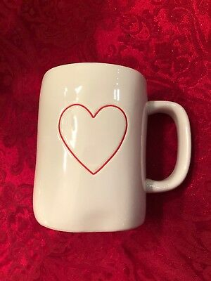 Rae Dunn Red Heart Mug Double Sided Artisan Collection by Magenta NEW HTF