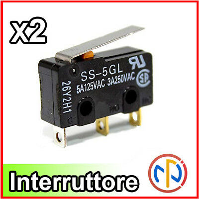 2X INTERRUTTORE FINECORSA micro Switch a levetta NA e NC 3 pin
