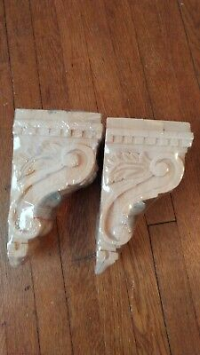 Pair New Wood Corbels Wall Shelf Bookend