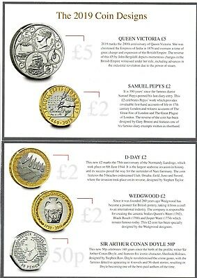 2019 UK £2 BU Commemorative Coins D-Day Landings, Wedgwood, Samuel Pepys' Diary
