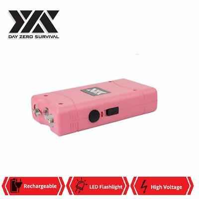 DZS 10 Million Volt Self Defense Pink Stun Gun Rechargeable LED FlashLight