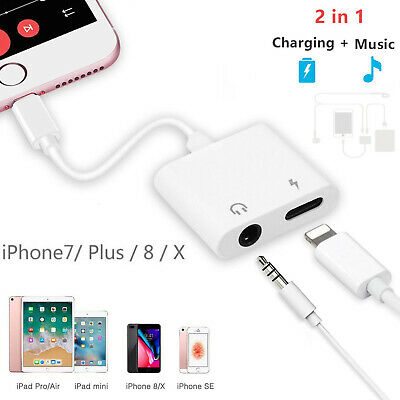2in1 Lightning 3.5 Adapter Headphone Jack Audio Splitter Cable For iPhone XS Lot