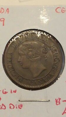 1859 Canada Large Cent Coin Regina Doubled Rotated Die Extra Fine #AA040