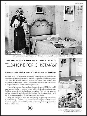 1931 Bell telephone system woman bedroom phone vintage photo Print Ad adL32