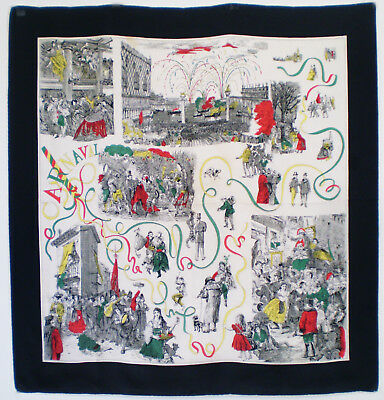 """Vintage 1950s SILK SCARF Victorian Era CARNIVAL IN VENICE Italy Hand Rolled 35"""""""