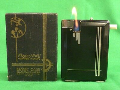 "1930s ""Magic Case"" Cigarette Case, Dispenser & Lighter – complete in box, Works!"