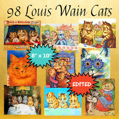 "98 LOUIS WAIN CATS Art Prints on A DVD, 8""x10"", Professionally Edited"