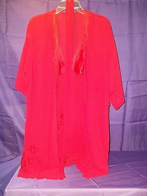 Secret Treasures Womens Teddie Nightgown w/Robe and Belt - Red - Sz S