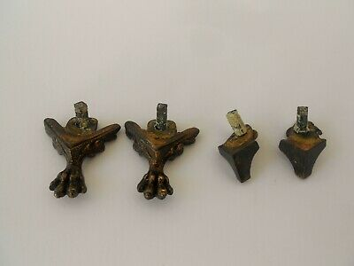 LOT OF 4 ANTIQUE FRENCH CAST BRONZE  FEET WINGS PAWS CLAWS LION CLOCK PARTS 19th