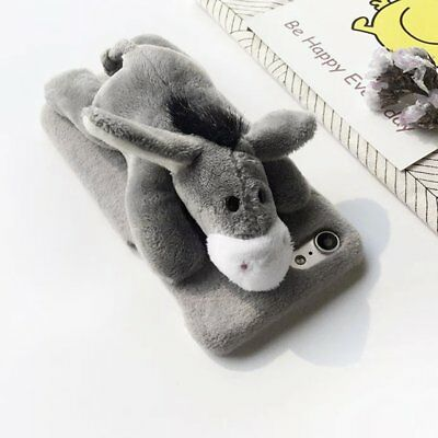 Lovely Cute 3D Donkey Doll Toys Plush Cell Phone Cases For iPhone Back Cover