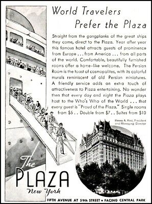 1935 The Plaza Hotel New York deboarding cruise ship vintage art Print Ad  adL33