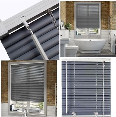 Grey 25Mm Pvc Venetian Window Blinds Trimmable Home Office Standard & Long Sizes