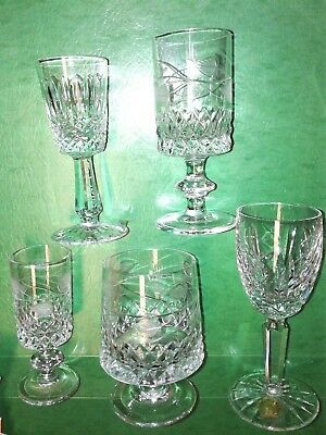 5 Irish Crystal Goblets Cut Glass 3 Signed Kilkenny 1 Waterford and 1 Tyrone (?)