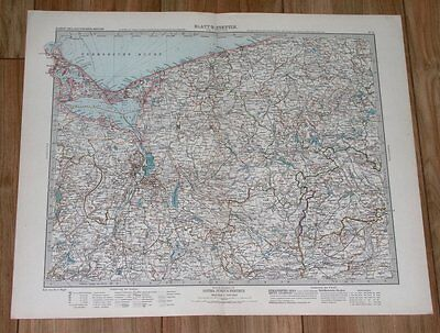 1908 Original Antique Map Of Poland Germany Pomerania Pommern Stettin Szczecin