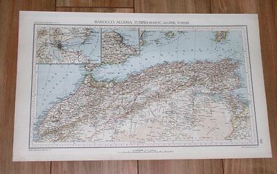 1927 Original Vintage Map Of Morocco Algeria Tunisia Tanger Tangier Spain Africa